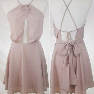 🆕 E2 - Blush Cross Front/Lace Up Backless Dress